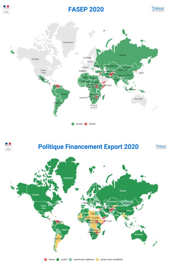 Cartes financement export 2020